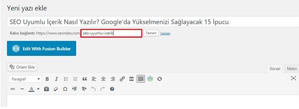 Sayfa URLsi
