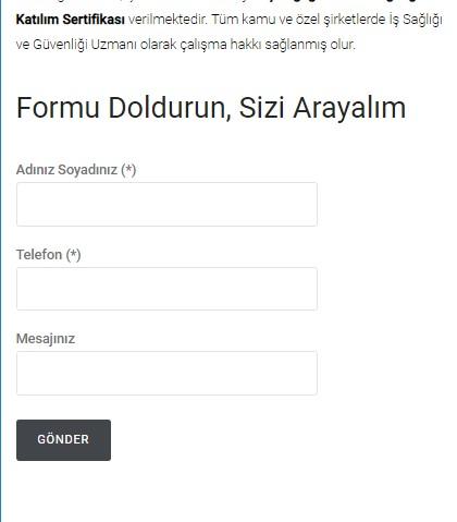 SEO uyumlu Form