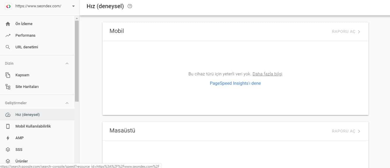 Google Search Console Sayfa Hızı